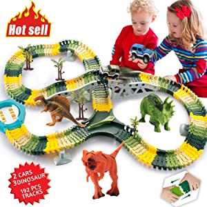 HOMOFY Dinosaur Toys 192 Pcs Race Car Flexible Track Sets Jurassic World 3 Dinosaurs,2 Military Vehicles,4 Trees,1 Turntable,2 Slopes,3 for 2 3 4 Year Old Girls and Boys (Trademark Protected)