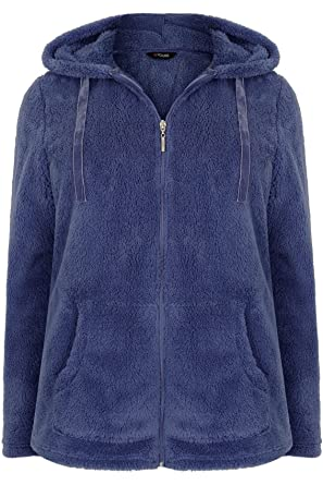 Yours Clothing Women/'s Plus Size Blue Zip Through Hoodie