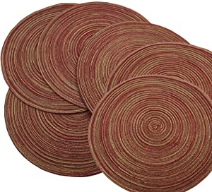 Red-A,Placemats,Round Placemats for Dining Table Set of 6 Woven Heat Resistant Non-Slip Kitchen Table Mats Diameter 14 Inch(Wine)