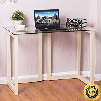Stupendous Amazon Com Colibrox 44 Tempered Glass Top Console Desk Unemploymentrelief Wooden Chair Designs For Living Room Unemploymentrelieforg