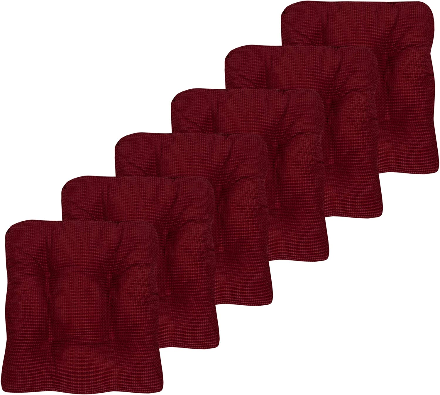 Sweet Home Collection Chair Cushion Crushed Memory Foam Pads Premium Slip Non Skid Microdot Rubber Back Tufted 16
