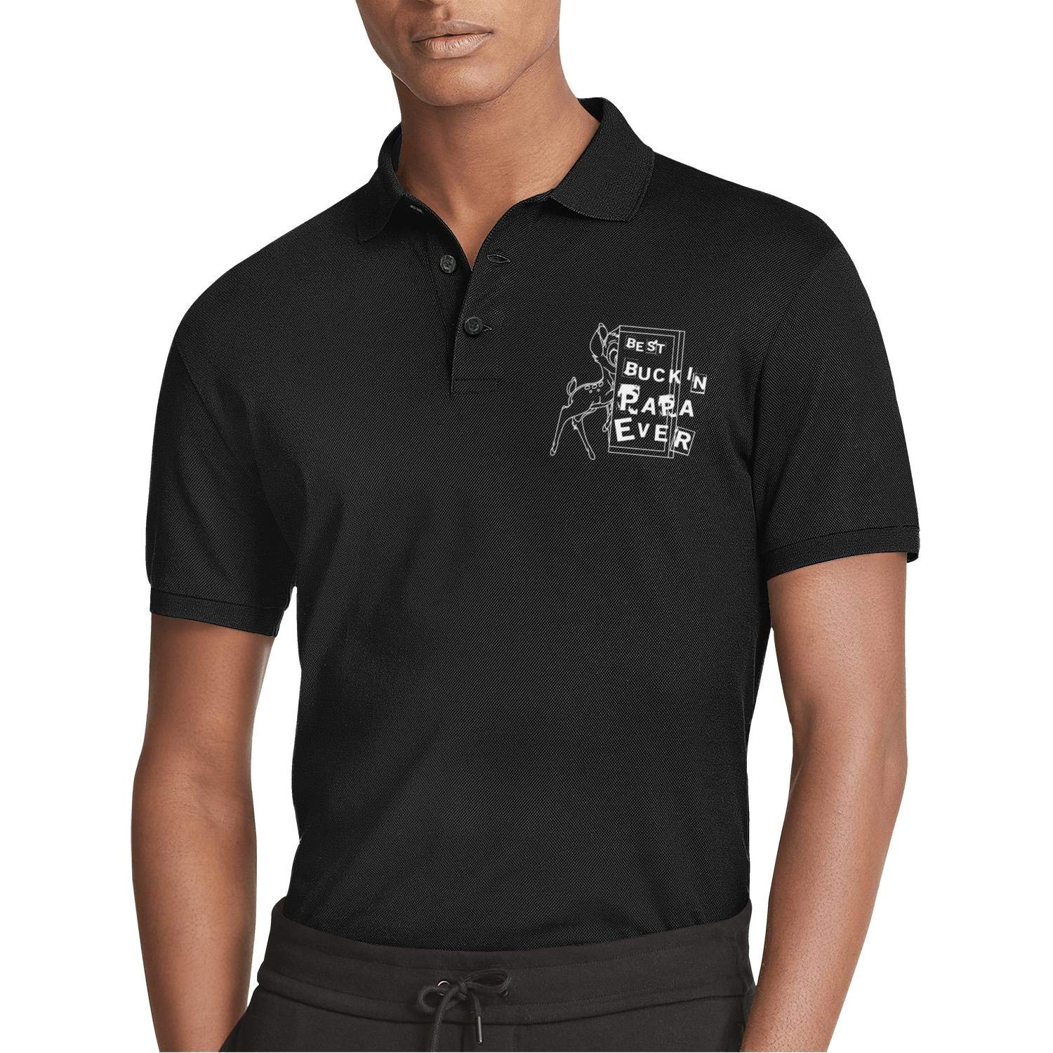 AIKYAN Best Buckin Papa Ever Breast Cancer Shirts Printed Mens Polo Shirt Button Down Party Holiday Camp Beach