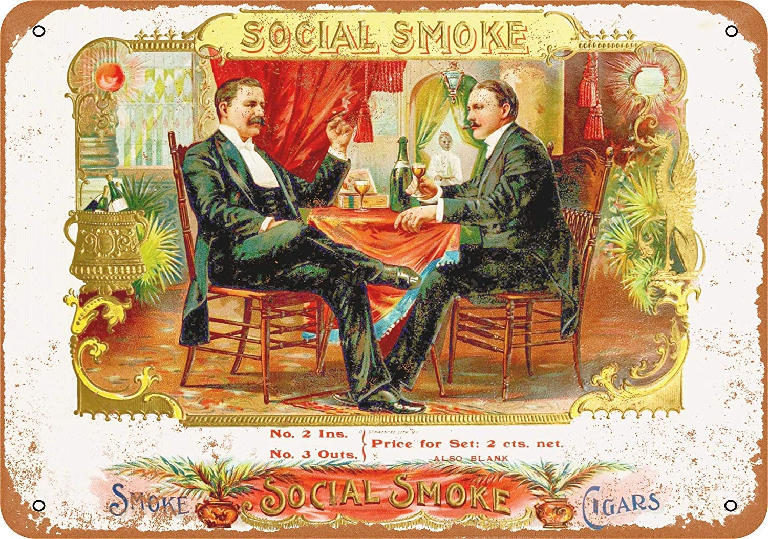 Social Smoke Cigars Placa Cartel Vintage Estaño Signo Metal ...