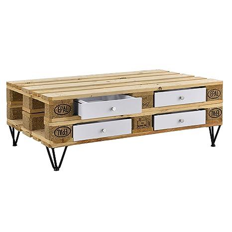 [en.casa] Stilvolle Europaletten-Schublade Perfekt integrierbar - weiß -  9,5cmx37,5cmx44,5 cm