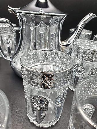 con Filtro Integrado. Pack de 12 Vasos de Cristal para T/é marroqu/í Multicolor y una Tetera Acero Inoxidable de 1.6L
