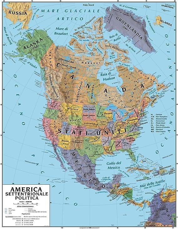 Cartina Politica E Fisica Stati Uniti.Carta Geografica Murale America Settentrionale 100x140 Bifacciale Fisica E Politica Amazon It Cancelleria E Prodotti Per Ufficio