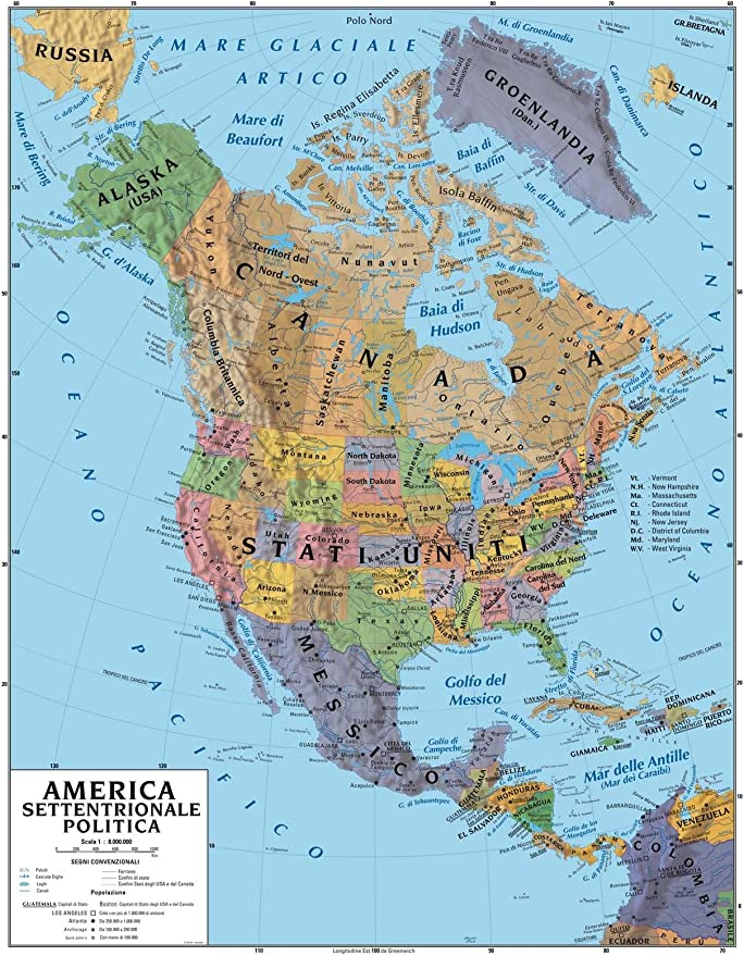 Cartina Fisica Del Nord America.Carta Geografica Murale America Settentrionale 100x140 Bifacciale Fisica E Politica Amazon It Cancelleria E Prodotti Per Ufficio