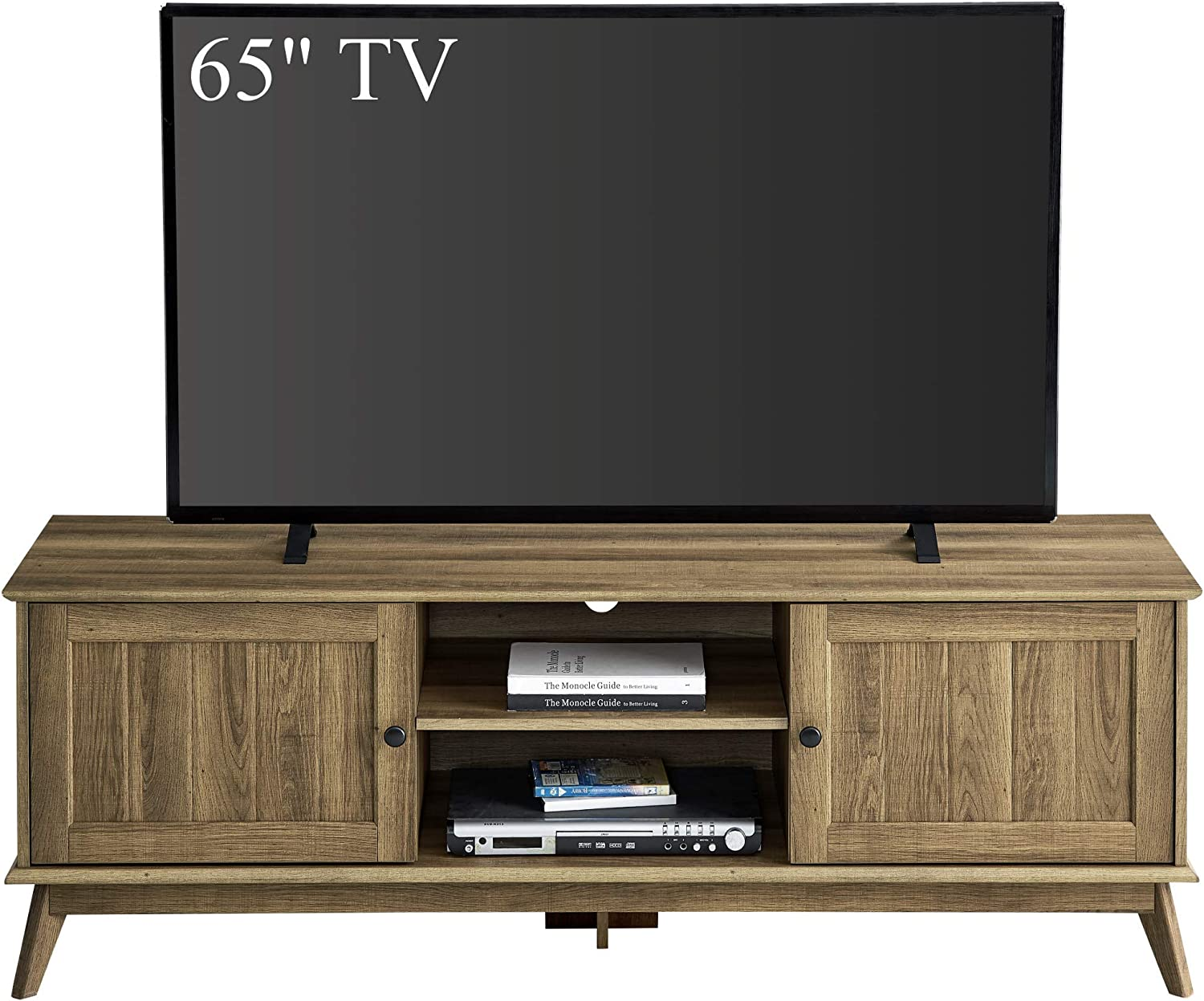 Newport Series Modern TV Media Console Stand Entertainment Center with Two Doors and Adjustable Storage Shelves | Sturdy and Wide| Easy Assembly |Golden Oak Wood Look Accent Living Room Home Furniture