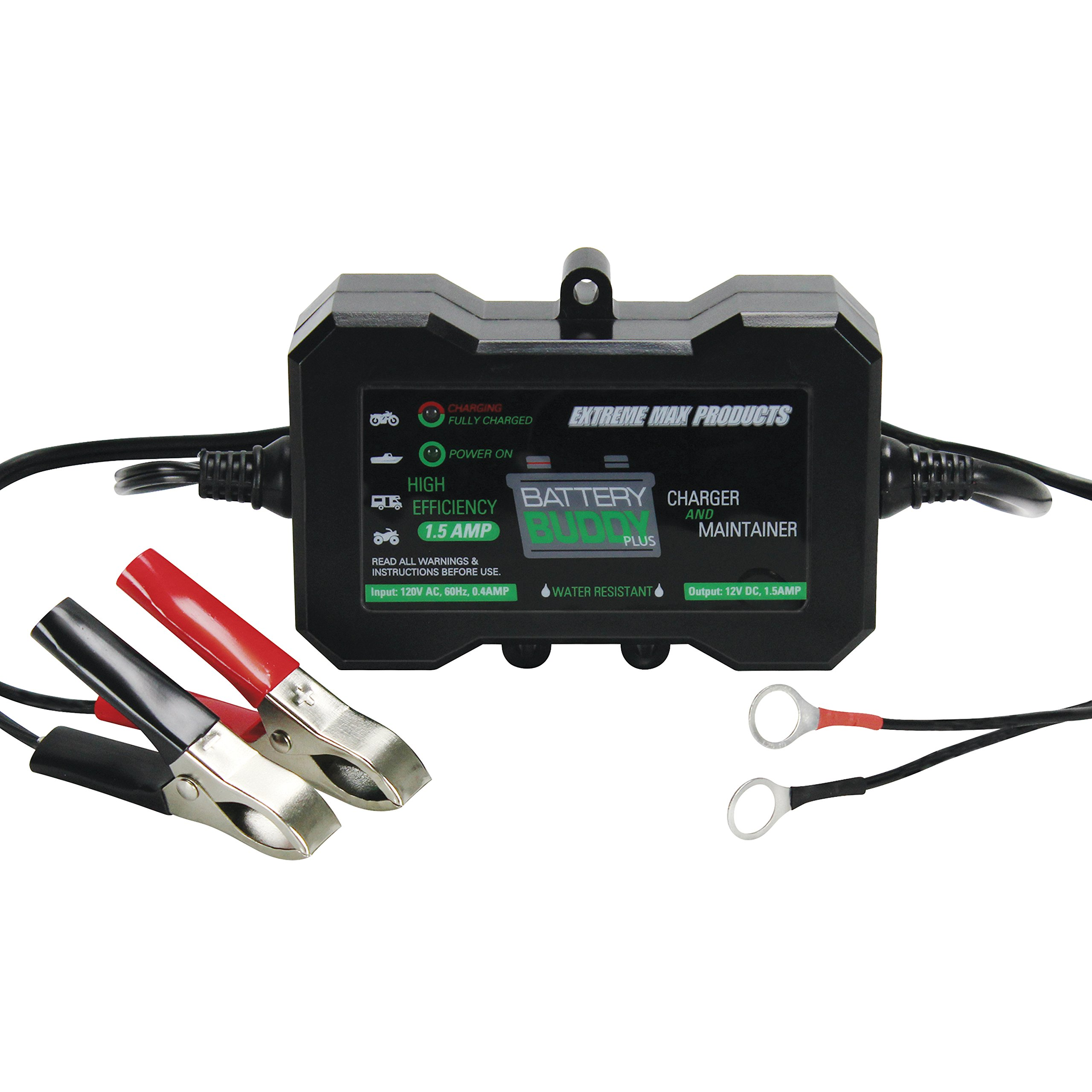 Extreme Max 1229.4012 Battery Buddy PLUS Onboard Water Resistant 12V (1.5 Amp) Battery Charger/Maintainer