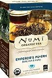 Numi Organic Tea Emperor's Pu-erh, 16 Bags, Organic Pu-erh Fermented Black Tea in Non-GMO Biodegradable Tea Bags, Aged Black Pu-erh Tea, Premium Individually Bagged Tea