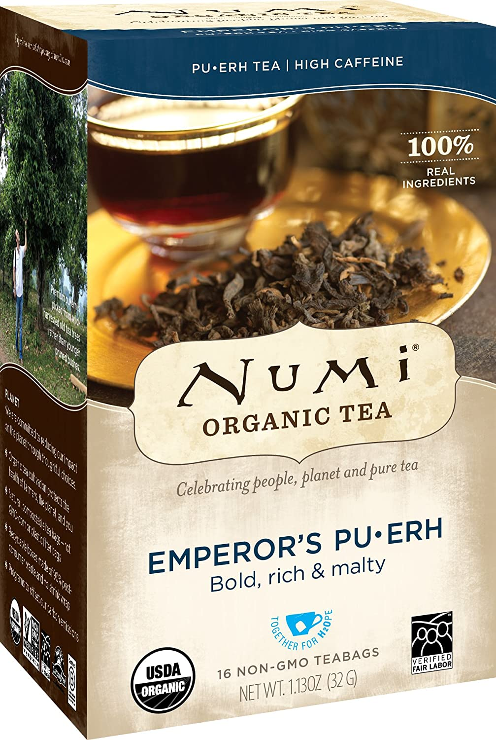 Numi Organic Tea Emperor's Pu-erh, 16 Bags, Organic Pu-erh Fermented Black Tea in Non-GMO Biodegradable Tea Bags, Aged Black Pu-erh Tea, Premium Individually Bagged Tea 680692603507