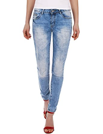 fcc68bd55550 Fraternel Damen Jeans Hose normal waist slim fit used destroyed  Amazon.de   Bekleidung