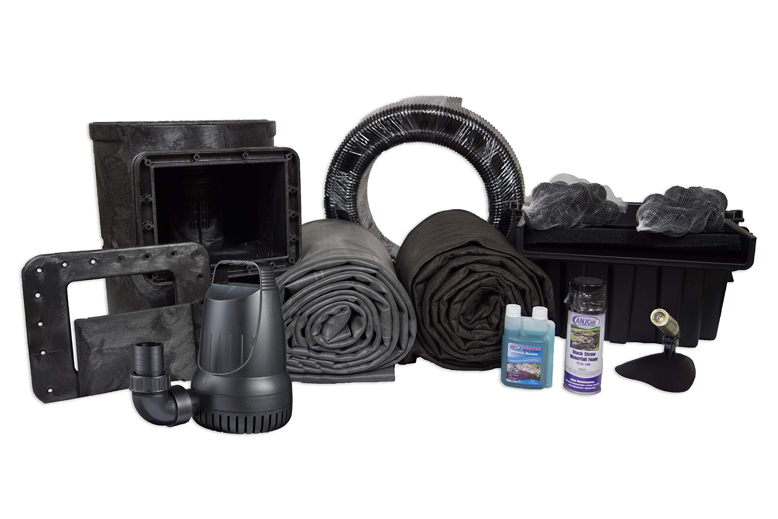 Half Off Ponds MDH6 - Medium Hybrid EPDM Pond Kit w/ 15' x 20' Lifeguard Pond Liner, 3,300 GPH Pump, 16'' Filtering Waterfall, and Savio Compact Skimmerfilter