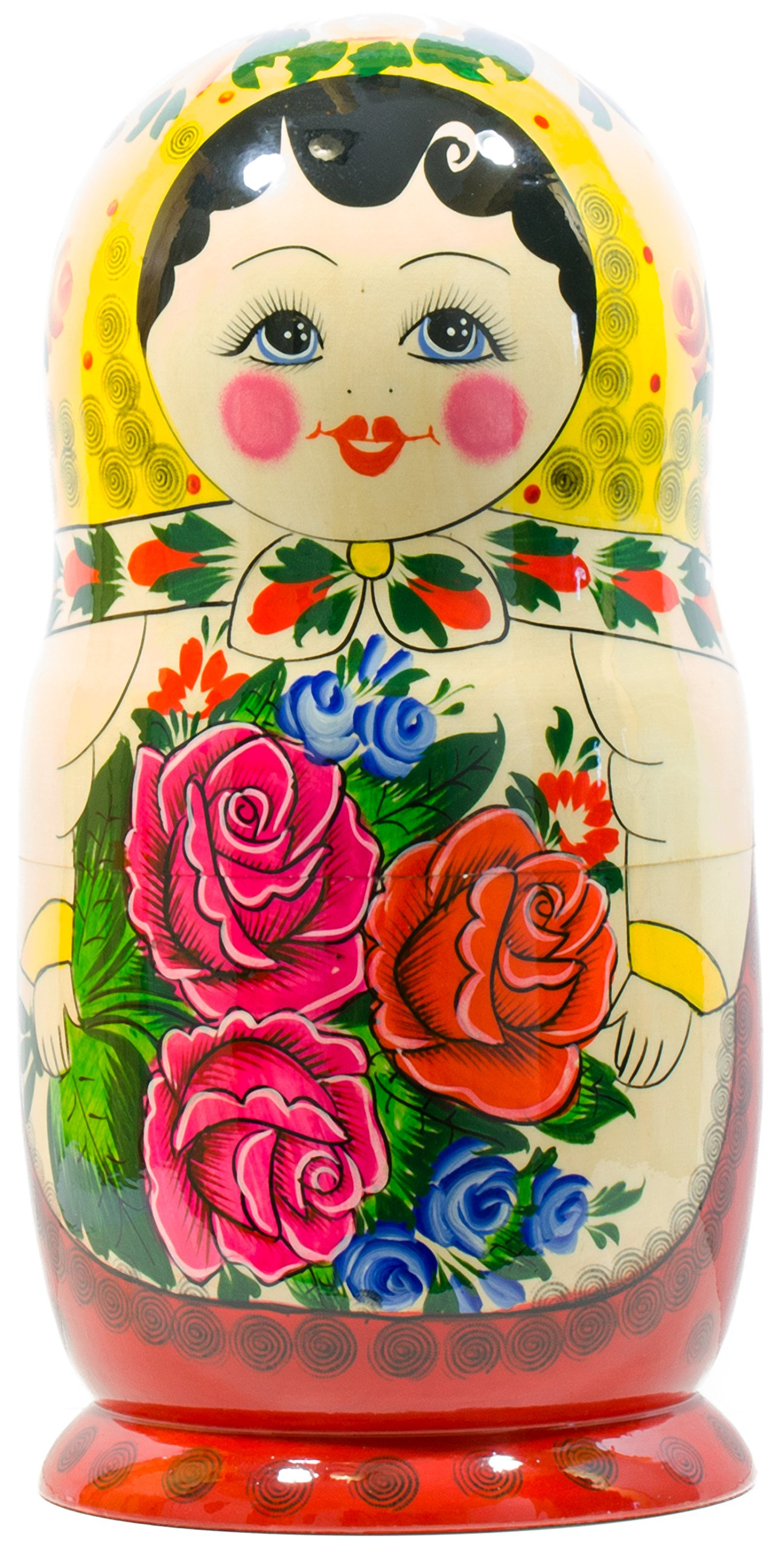 Russian Nesting Doll -Semenovo - Hand Painted in Russia - 6 Color|Size Variations - Wooden Decoration Gift Doll - Traditional Matryoshka Babushka (14``(20 Dolls in 1), Yellow - Red) by craftsfromrussia (Image #6)