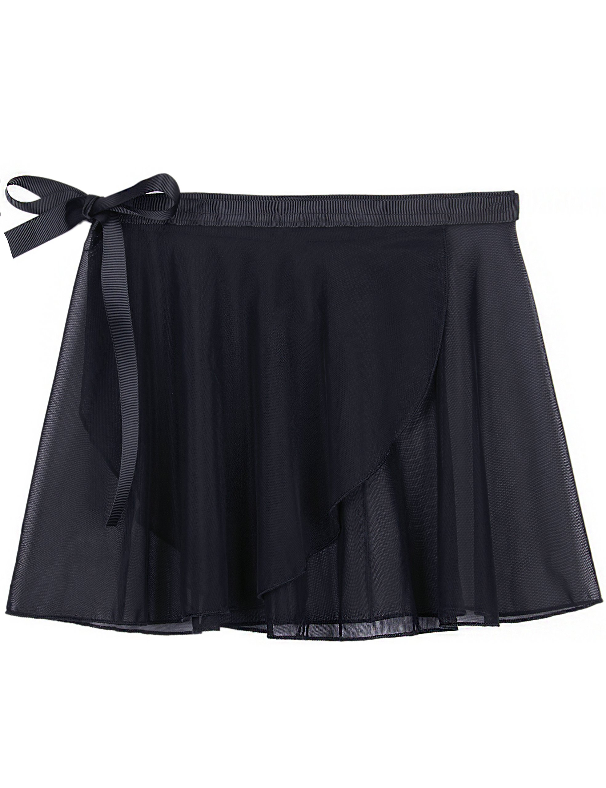 MdnMd Dance Skirt for Girls with Tie Waist (Black, Age 4-6,Height 45-49'')