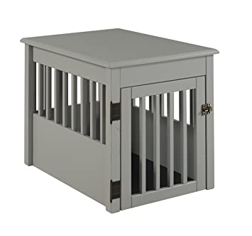 Amazoncom BarkWood Pet Crate End Table Grey Finish Pet Supplies