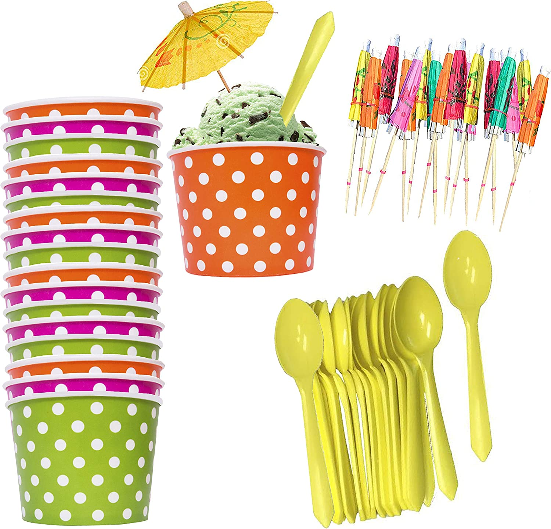 Ice Cream Sundae Kit - 8 Ounce Polka Dot Paper Treat Cups - Plastic Spoons - Paper Umbrellas - Orange Green Yellow Pink - 18 Each