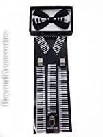 New Suspender Bow Tie Matching Colors Adults Unisex Formal - Halloween - Piano Combo