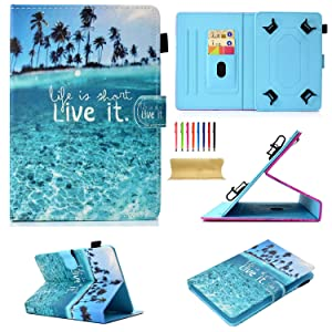 """Uliking Universal 7.5-8.5 inch Tablet Stand Cover Case for 7"""" 8"""" iPad Mini 1 2 3 4, Kindle,Q8,Samsung Galaxy Tab,Verizon Asus RCA Google Dragon Touch & Other 7.5""""-8.5"""" Andriod Tablets, Blue Ocean Sea"""