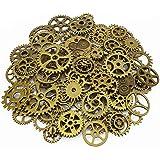 LolliBeads 120 Gram Antiqued Bronze Metal Skeleton Steampunk Watch Gear Cog Wheel Sets( 80pcs)