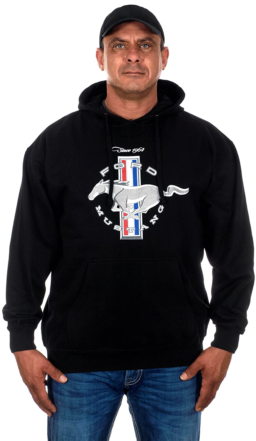 29d7b47ef Amazon.com  JH Design Men s Ford Mustang Hoodies in 5 Styles with American  Flag Sticker  Clothing