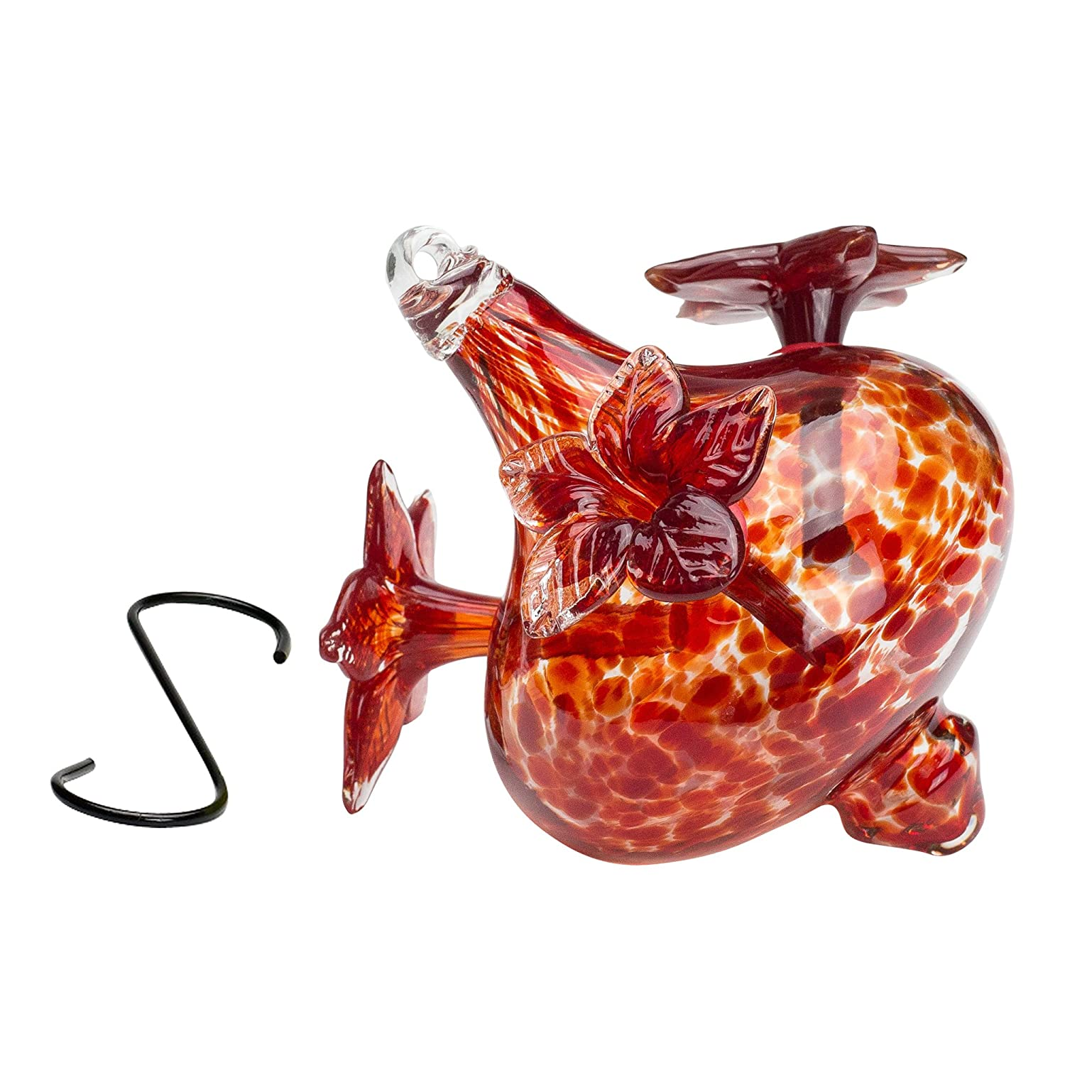 Blown Glass Hummingbird Feeder, Red Bouquet Cap,