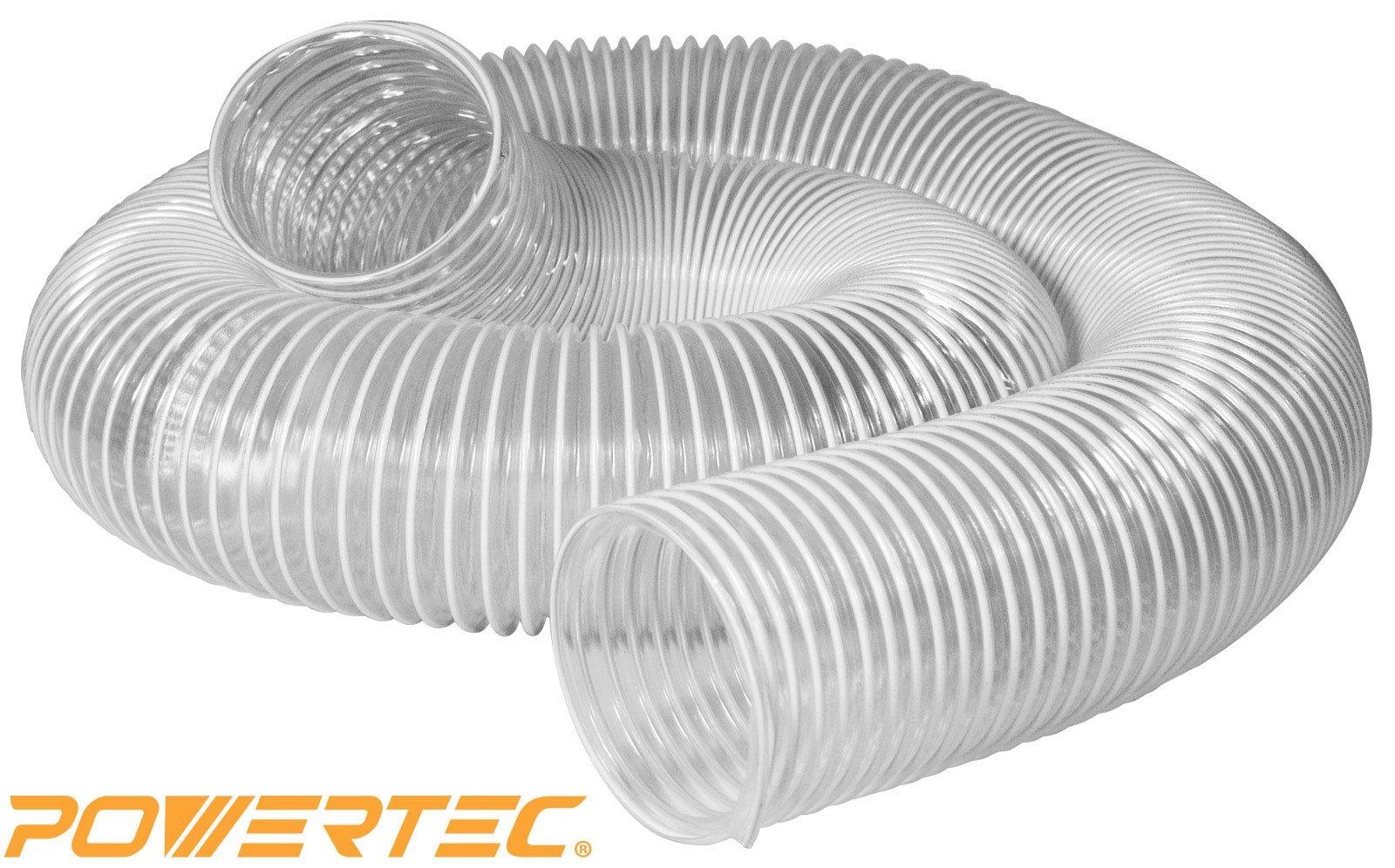 POWERTEC 70111 Heavy Duty 4-Inch x 10-Foot PVC Flexible Dust Collection Hose, Clear Color