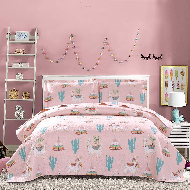 Kids Alpaca Cactus Quilt Set Full/Queen Size Soft Lightweight Pink Animal Cartoon Bedspread Coverlet Children Llama Plant Bedding Bed Cover Set ,1 Quilt 2 Pillow Shams