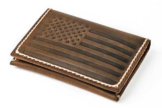 b329e697cbe American Flag Leather Card Wallet by JooJoobs at Amazon Men s ...