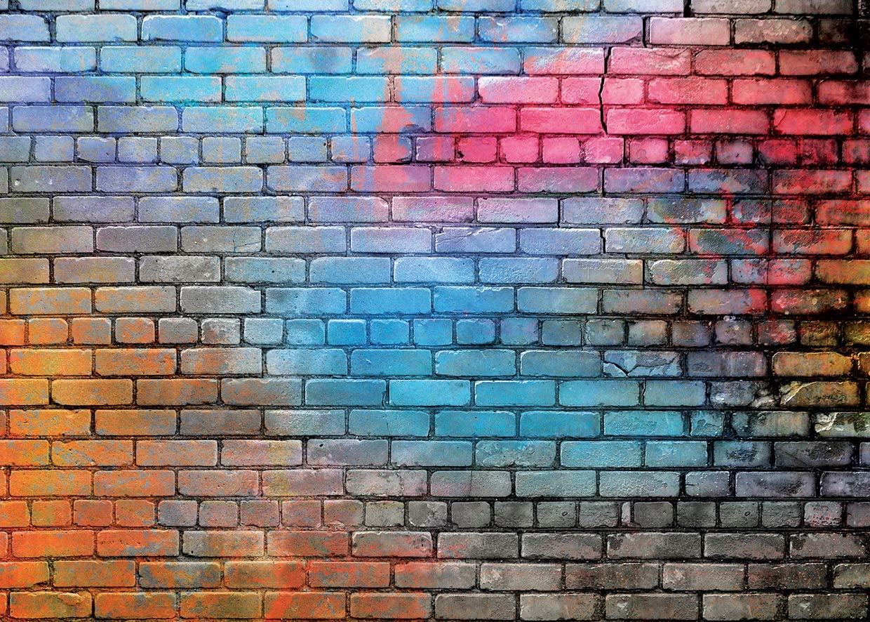 Vinyl 16x10ft 80s Backdrop Blue and Red Brick Textured Backgroud for Photography Vocal Concert Community Activities Photobooth Backdrop School Party Hip-Hop Music Banner