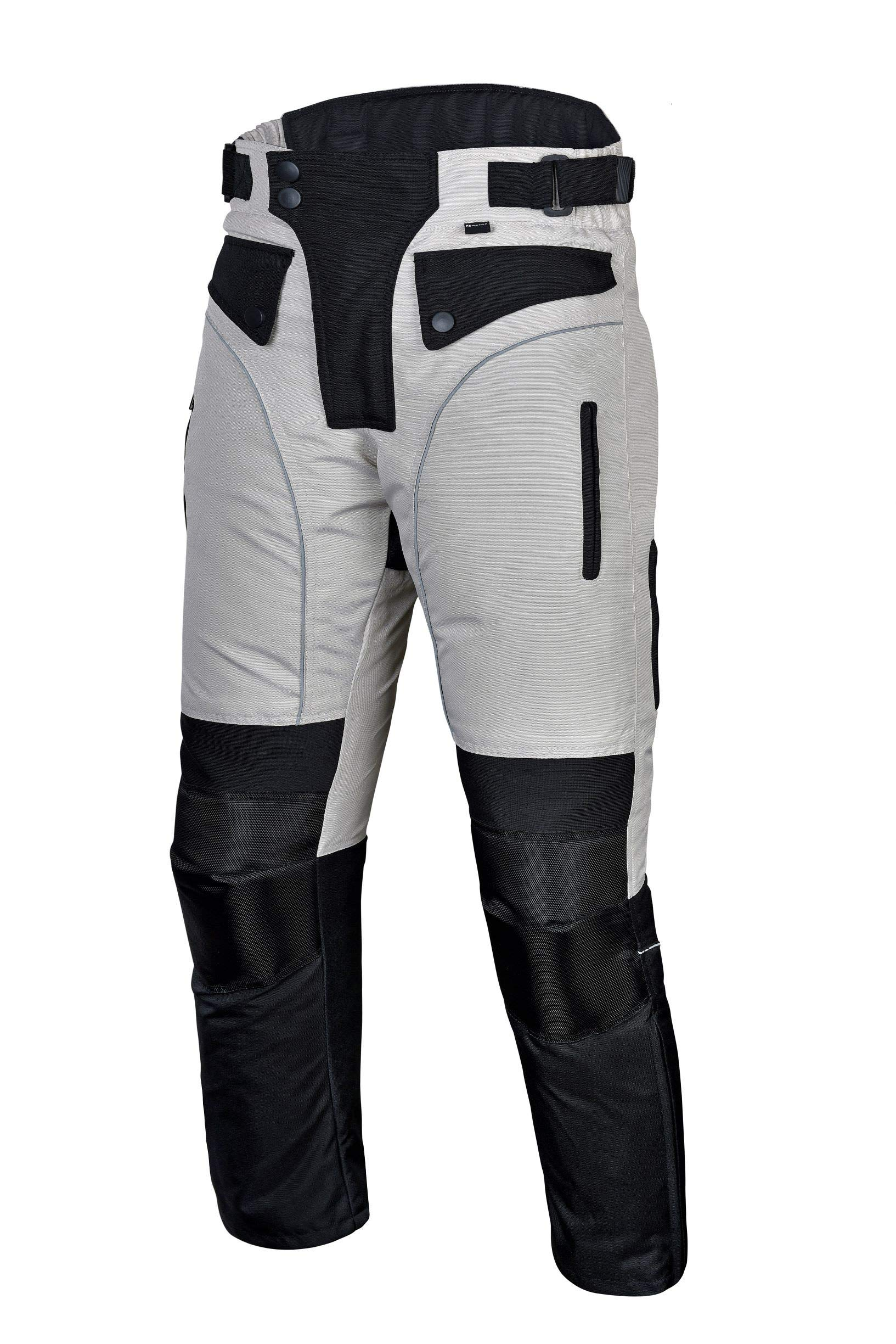 Mens Motorcycle Biker Waterproof, Windproof Riding Pants Gray with Removable CE Armor PT1 (4XL)