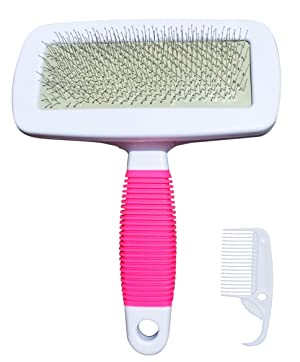 FUNPET Dog Grooming Brush Professional Cleaning Shedding Slicker with Comb for Long and Short Haired Dog Cat Pet