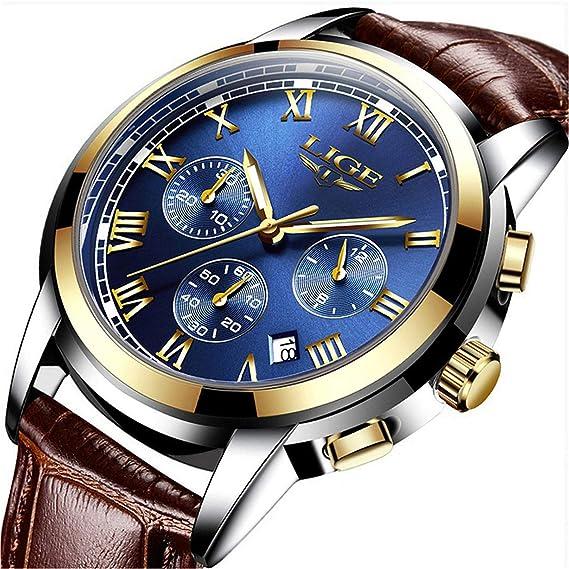 nuevo producto 0cf6c f5af9 LIGE Relojes Hombre,Impermeable Vestido Negocios Analógico Cuarzo Relojes  De Lujo Calendario Cronógrafo