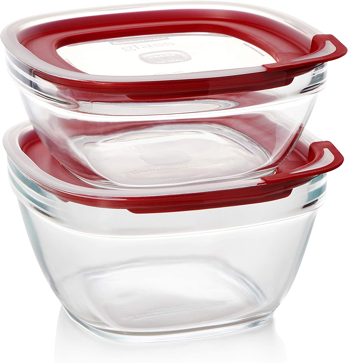 Rubbermaid Easy Find Lids Glass Food Storage Container, 4-pieces, Clear
