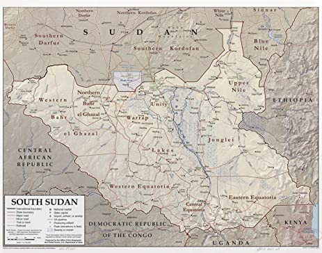 Amazon map poster south sudan 24x19 posters prints map poster south sudan 24quot gumiabroncs Gallery