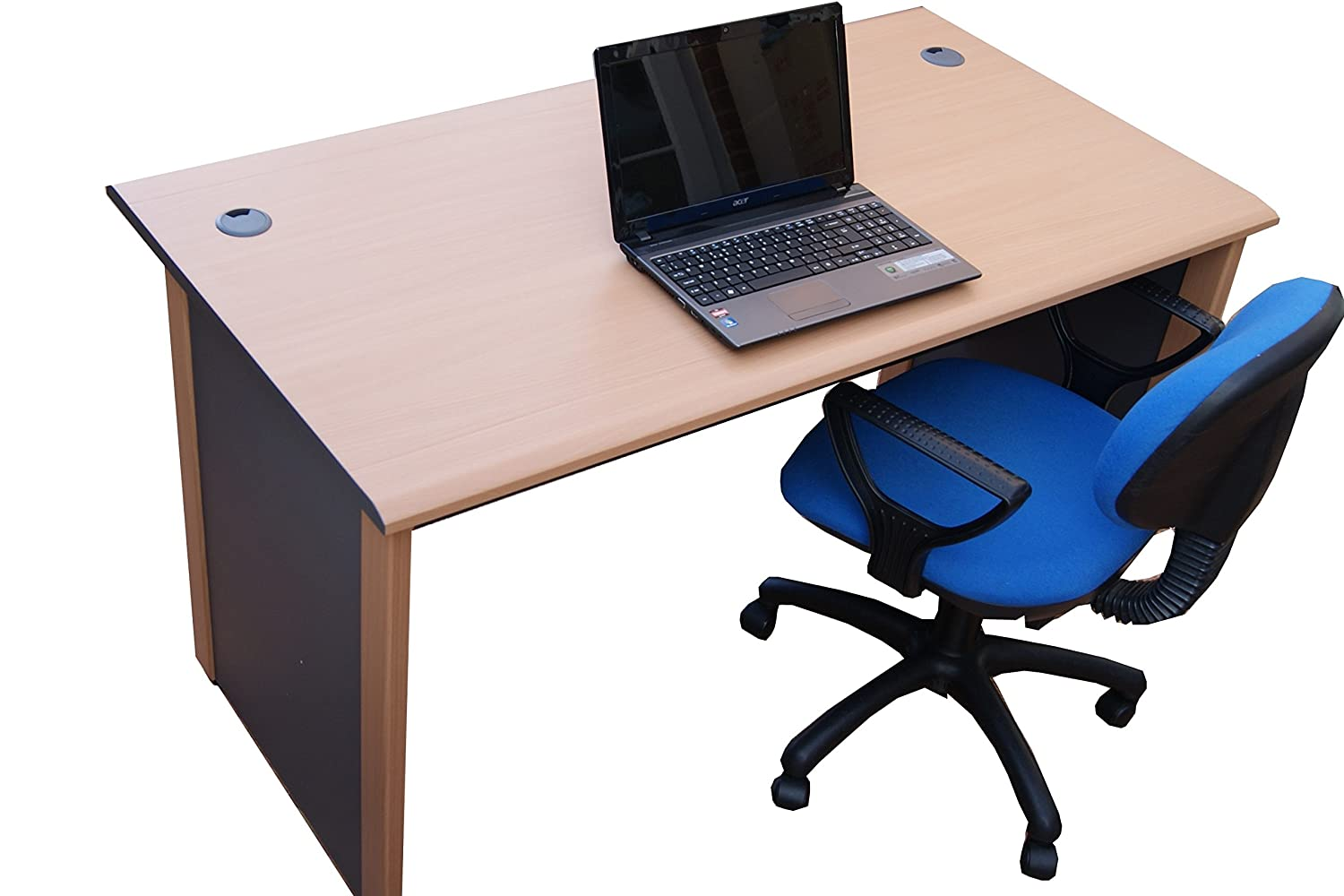 1.4 meter Office Computer desk a study desk for Office and Home Beech // dark grey