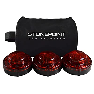 Stonepoint Emergency LED Road Flare Kit – Set of 3 Super Bright LED Roadside Beacons with Magnetic Base – Flashing or Steady Red Lights Visible Up to 2 Miles Away – Includes Storage Bag: Automotive [5Bkhe0912922]