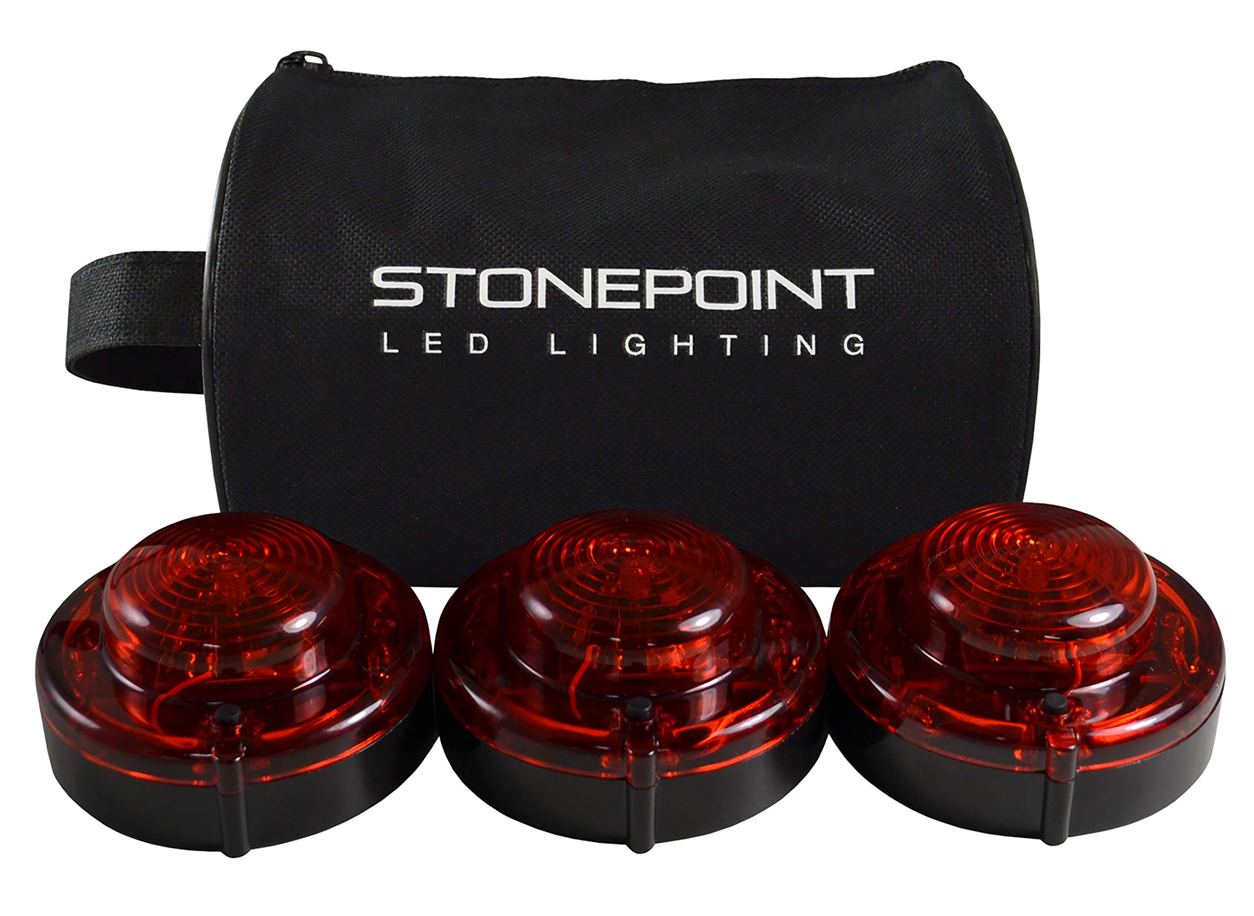 Stonepoint Emergency LED Road Flare Kit - Set of 3 Super Bright LED Roadside Beacons with Magnetic Base - Flashing or Steady Red Lights Visible Up to 2 Miles Away - Includes Storage Bag