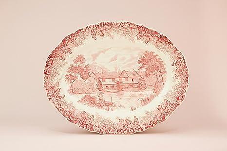 Rosso e bianco piatto da portata dish meakin romantico inghilterra