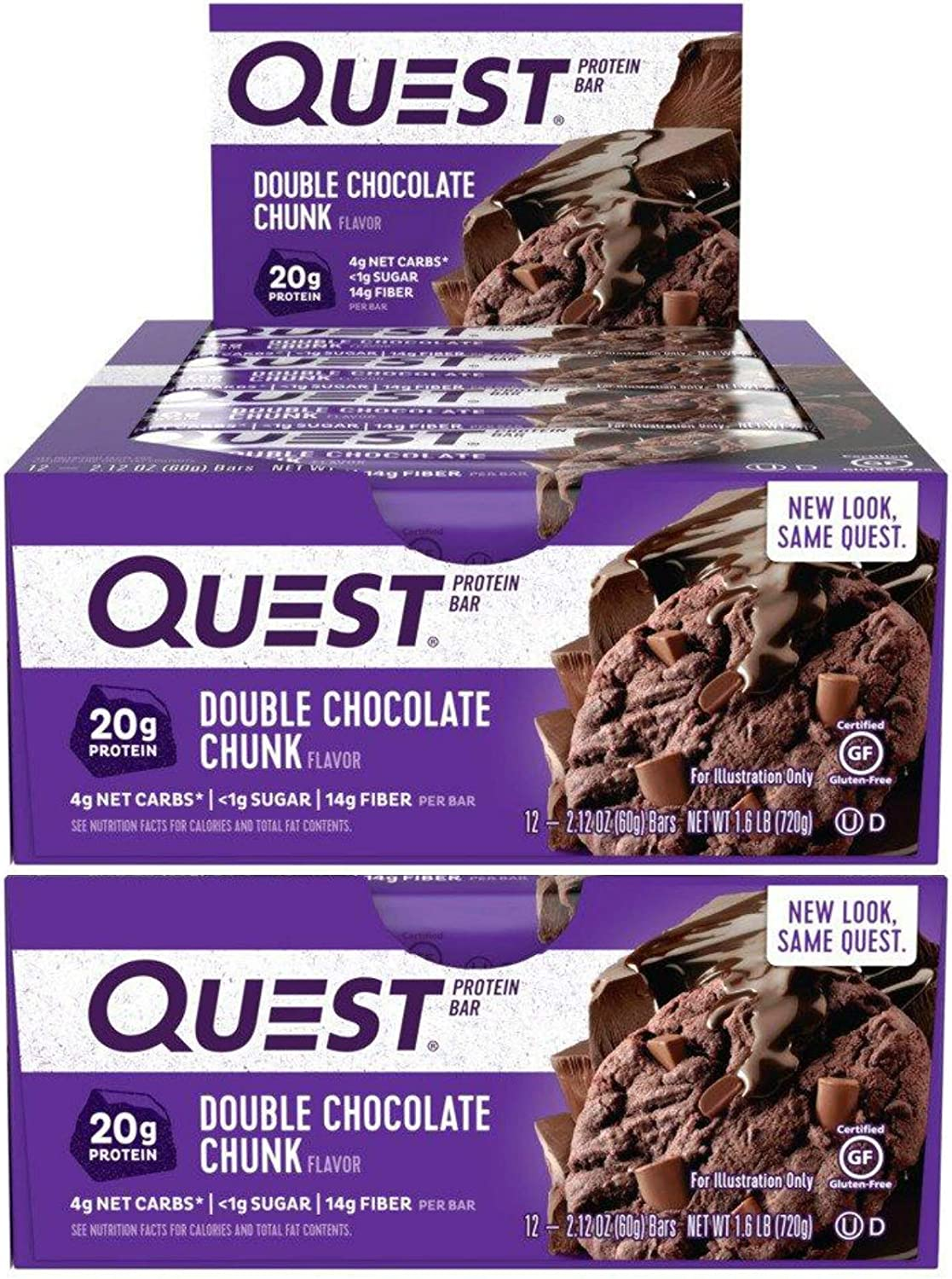 Quest Nutrition Protein Bar Double Chocolate Chunk. Low Carb Meal Replacement Bar w/ 20g+ Protein. High Fiber, Soy-Free, Gluten-Free (24 Count)