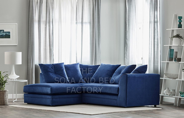 New Roxie Plush Velvet 3 Seater Fabric Corner Sofa Blue