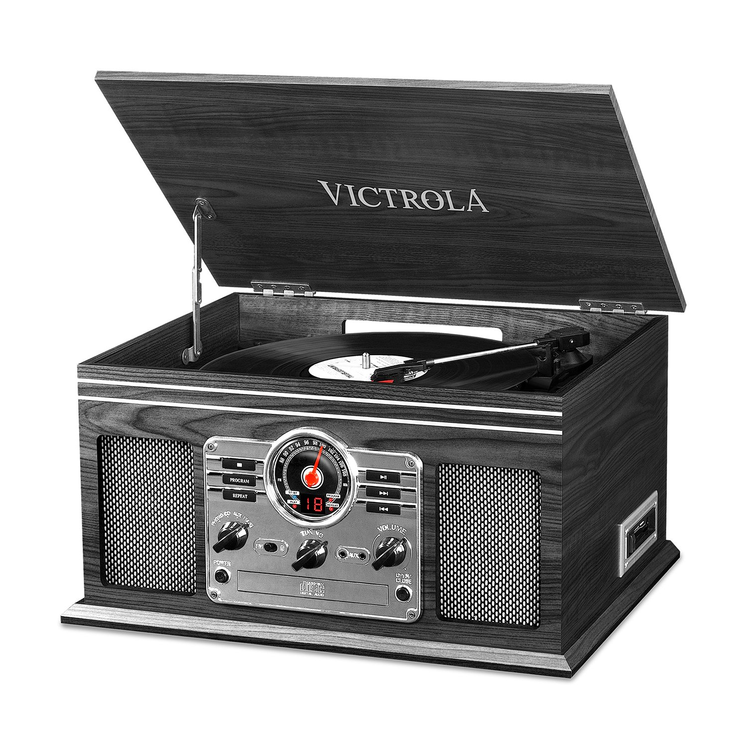 Innovative Technology Nostalgic Classic Wood 6-in-1 Bluetooth Turntable Entertainment Center, Graphite VTA-200B GH Accessory Electronics Home Audio & Theater