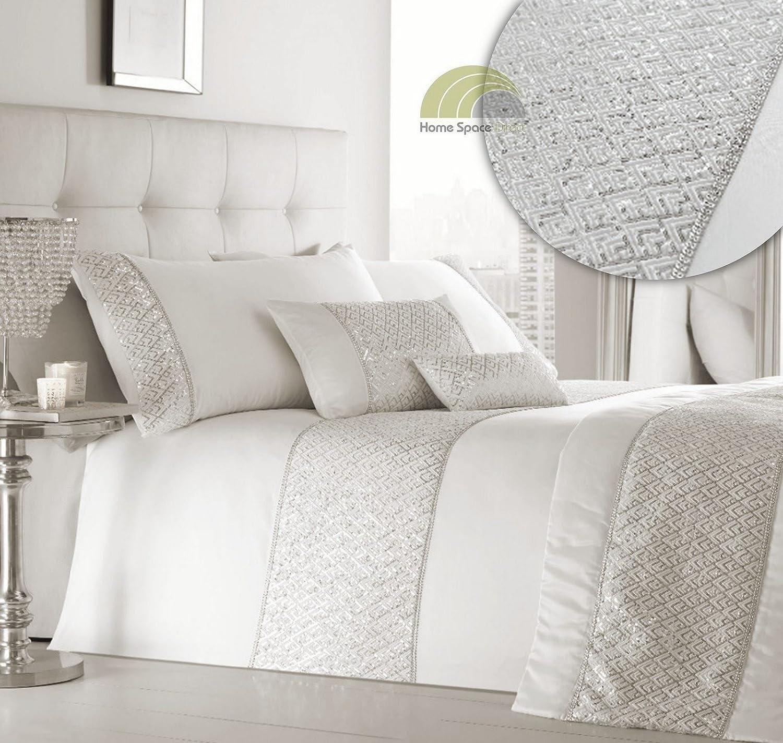 Amazon.com: Simmer Luxury Diamante Trim Duvet Quilt Cover Bedding Set Silver - UK Super King / US King: Home & Kitchen