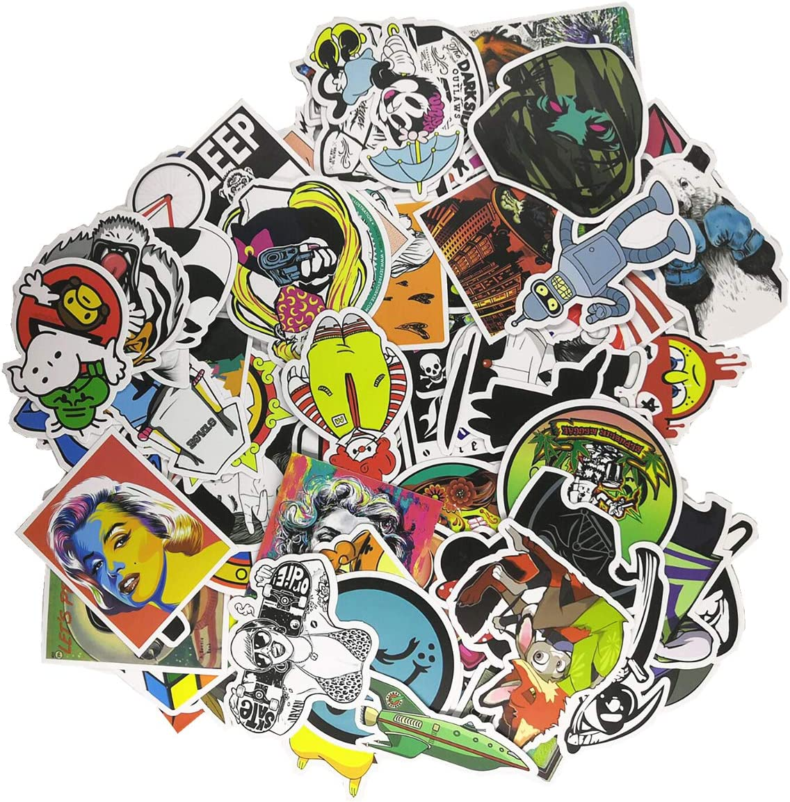 Loveliome 100 Pcs Not Repeat Laptop Stickers,Graffiti Patches Cartoon Hip Hop Logo Sticker Paper for Water Bottles, Waterproof Motorcycle Bicycle Skateboard Luggage Decal, Style 4