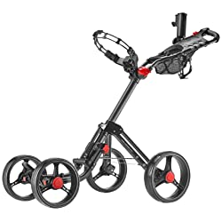 CaddyTek Superlite Explorer 4 Wheel Golf Push Cart Dark Grey
