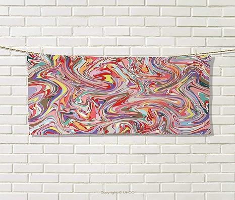 Anniutwo Abstracto, Toalla, Minimalista geométrico Figuras Retro Rectangular Formas Nostalgia Art Print, impresión