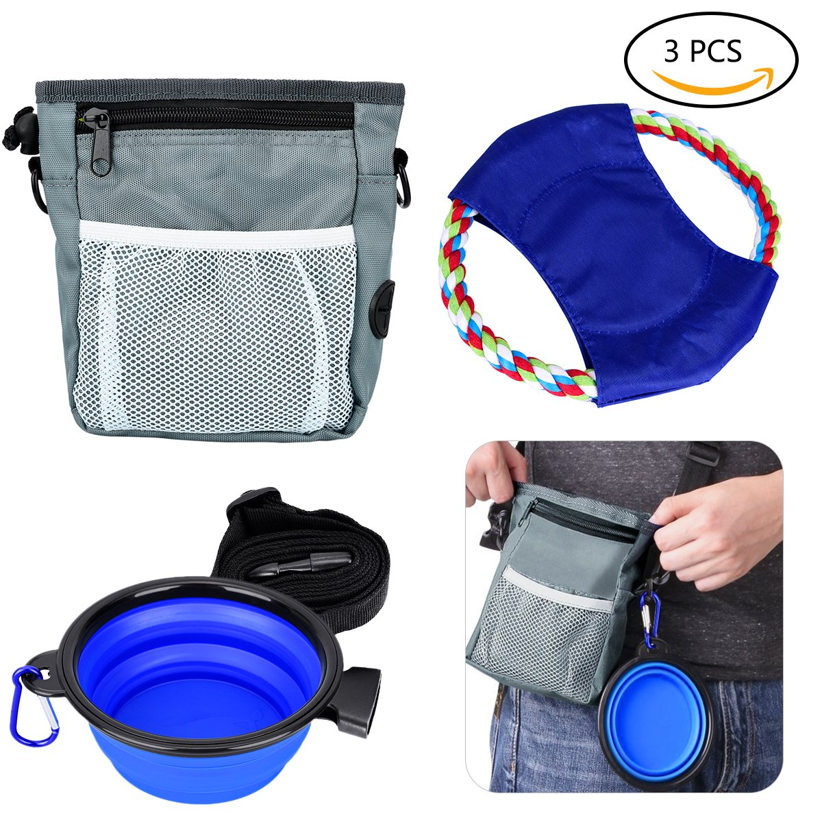 TinTop Dog Training Treat Tool Set including 1 Pouch Bag with Adjustable Strap 1 Silicone Foldable Travel Bowl with Clip 1Frisbee for Pet Dog Cat Indoor Outdoor Feeding and Training Gray + Blue