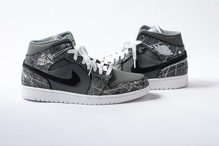 bda7651827bd0 Amazon.com: Nike Air Jordan 1 Custom Mens 'Monochromatic' Splatter ...