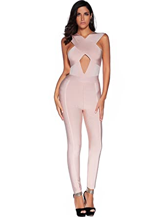 8b56809b4f Amazon.com  Meilun Women s Bandage Jumpsuit Bodysuit Bodycon Romper ...