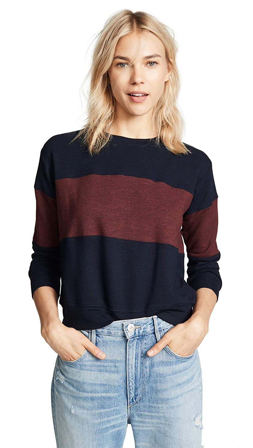 SUNDRY Women's Colorblocked Sweatshirt Midnight/Marsala 3